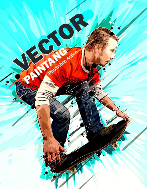 Vector Painting Photoshop Action Template