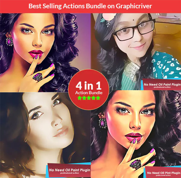 Vector Painting Photoshop Actions Bundle