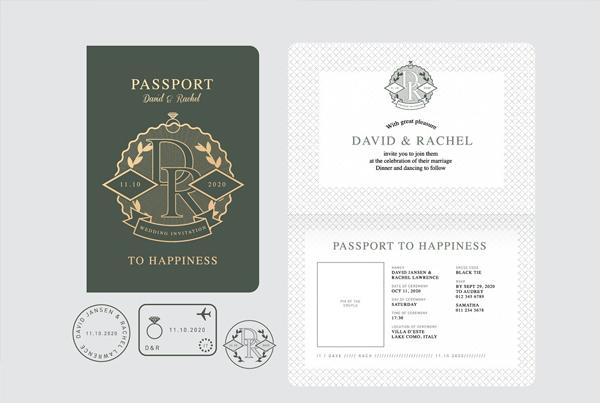 Vector Passport Wedding Invitation