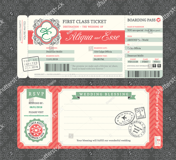 Vintage Boarding Pass Style Wedding Invitation Template