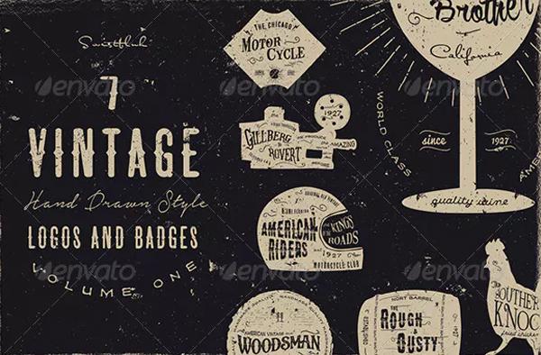 Vintage Hand Drawn Style Logos & Badges