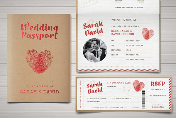 Vintage Passport Wedding Invitation Template