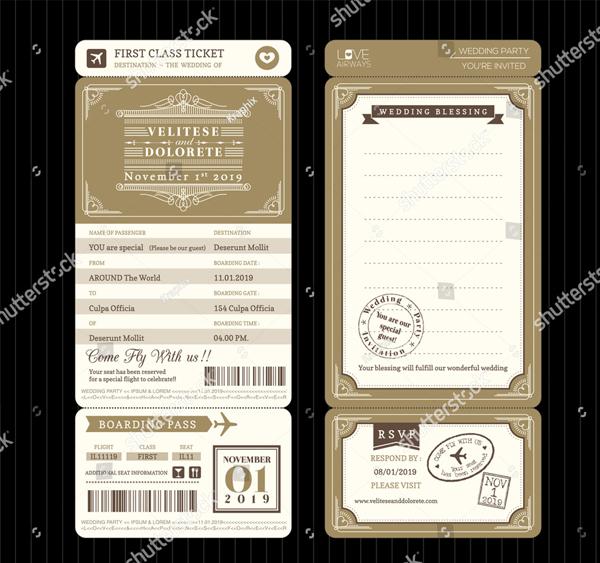 Vintage Style Boarding Pass Ticket Wedding Invitation Template