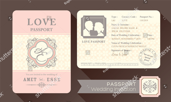 Vintage Visa Passport Wedding Invitation Card Design Template