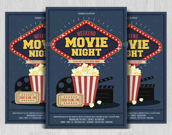 Weekend Movie Night Flyer Template