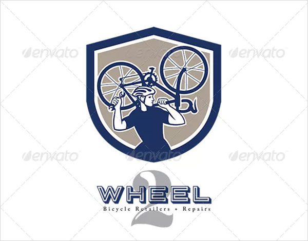 Wheel Bicycle Retailers and Repair Logo