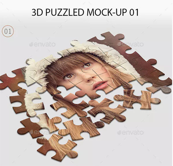 3D PSD Puzzled Mock-Up
