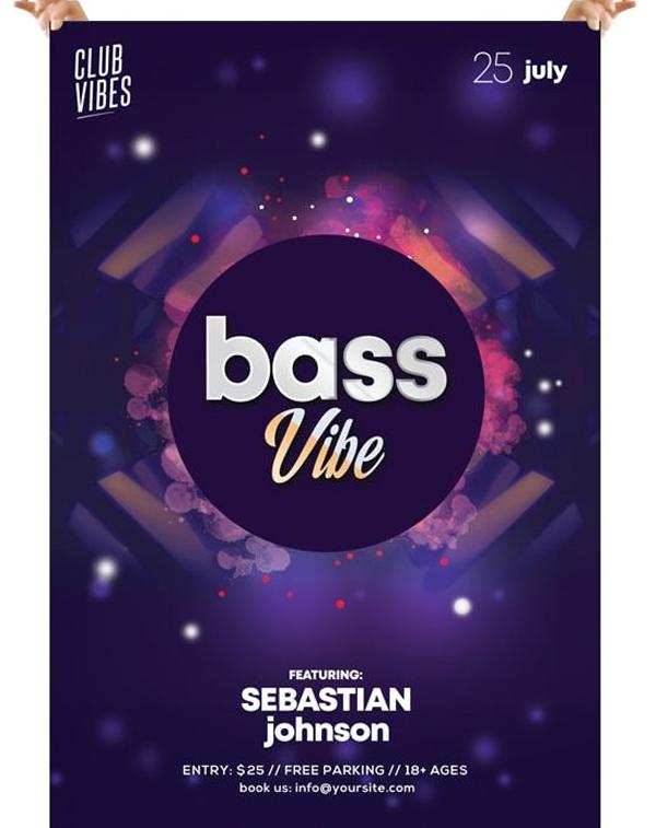 Bass Vibe Free DJ PSD Flyer Template