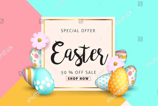 Beautiful Colorful Easter Sale Banner Template