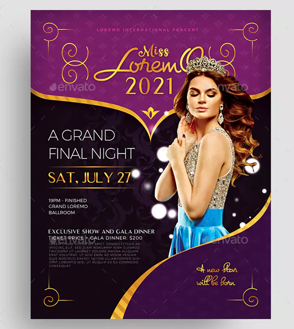 Beauty Contest Flyer Design Template