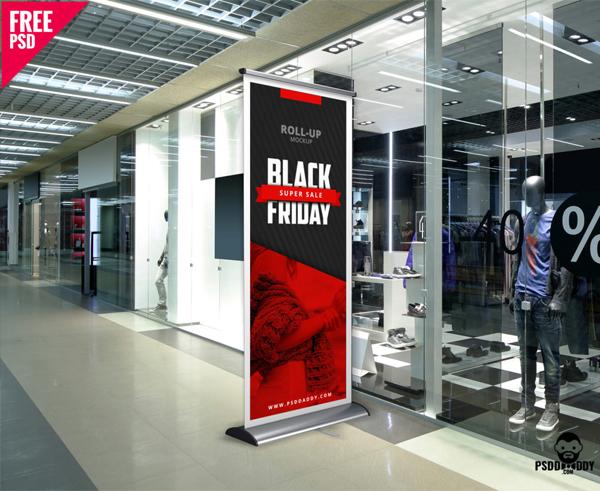 Black Friday Roll Up Banner Mockup Free Download