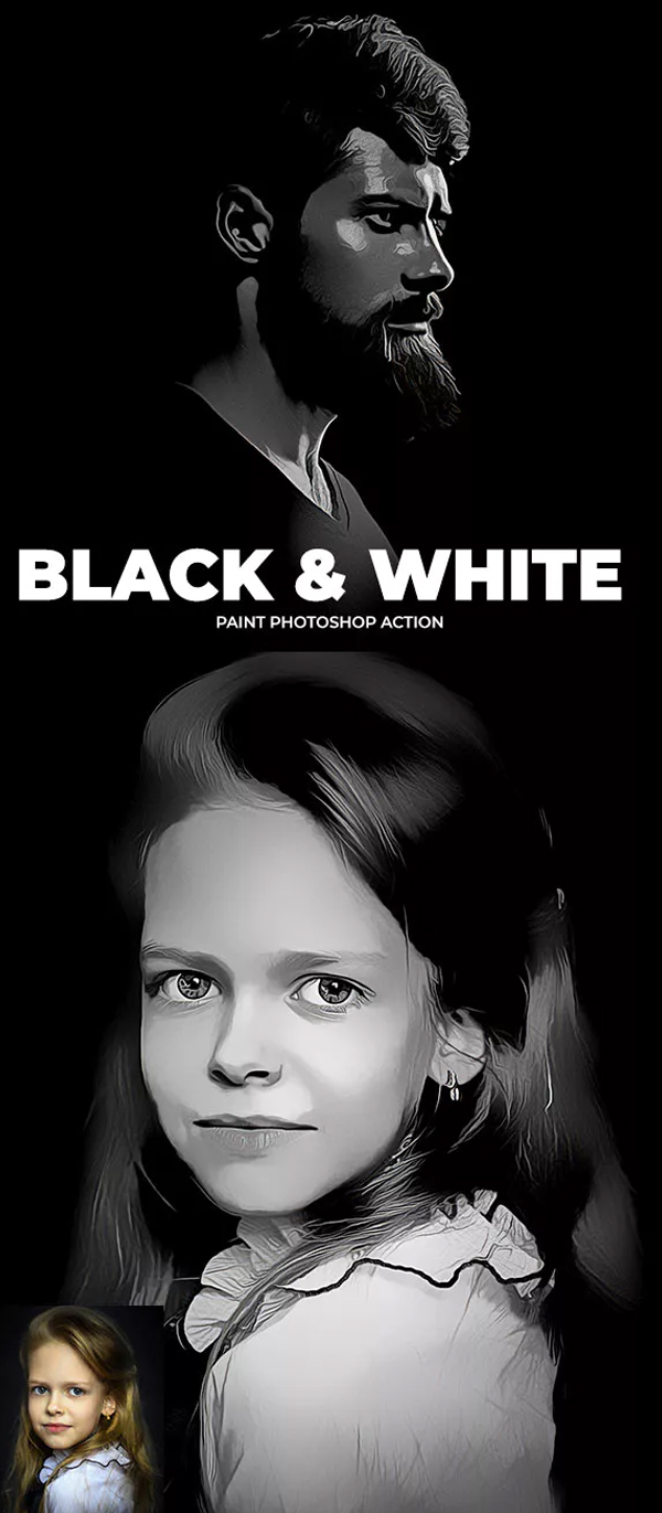 Black & White Paint Photoshop Action