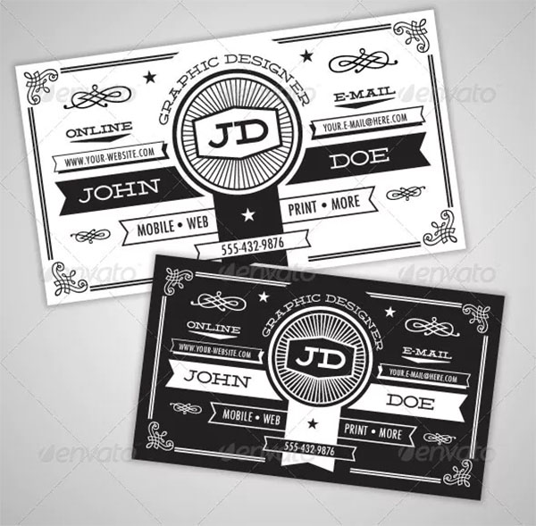 Black and White Vintage Business Card
