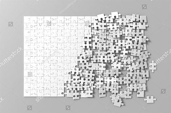 Blank White Unfinished Puzzles Game Mockup
