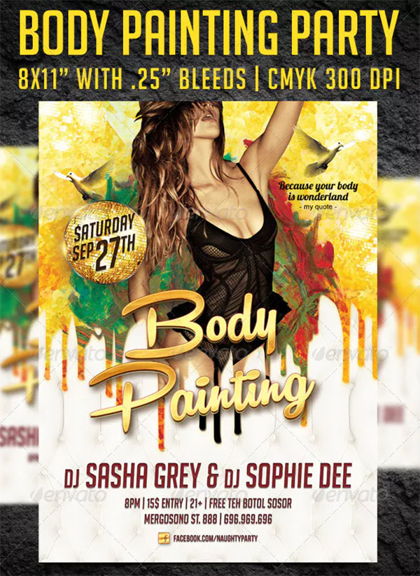Body Painting Party Flyer Template