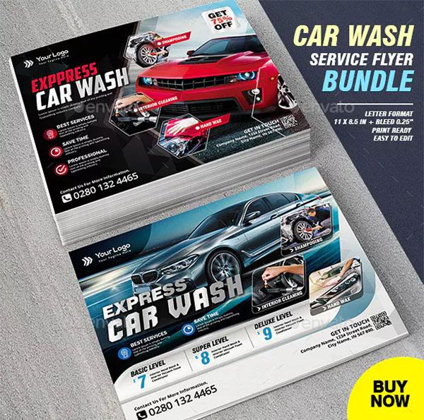 Car Wash Flyer & Business Card Template Bundle