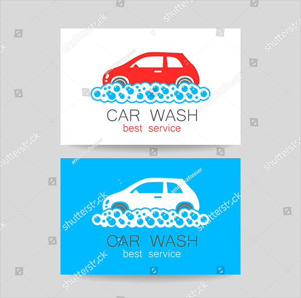 Car Wash Service Business Card Vector Template