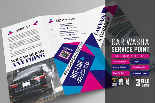 Car Wash Service Tri Fold Brochure