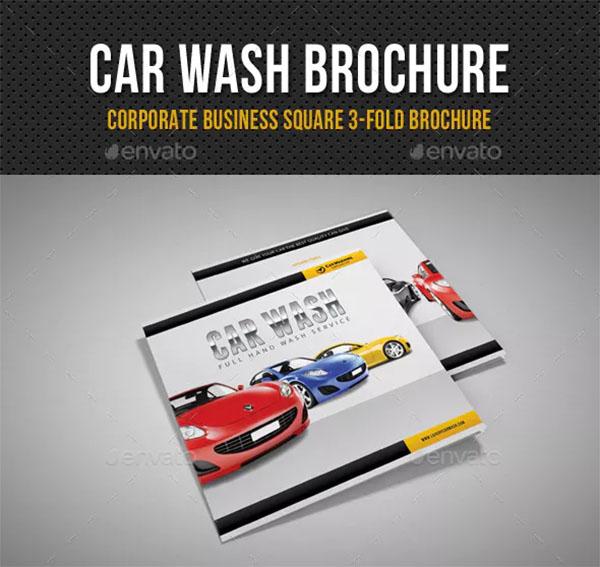 Car Wash Square 3-Fold Brochure Design
