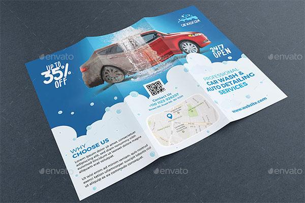Car Wash Tri-fold Brochure PSD Template
