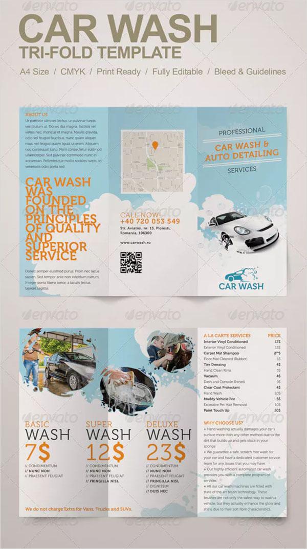 Car Wash Tri-fold Brochure