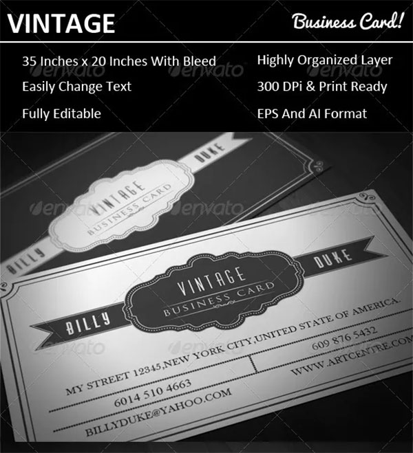 Classic Vintage Business Card Template