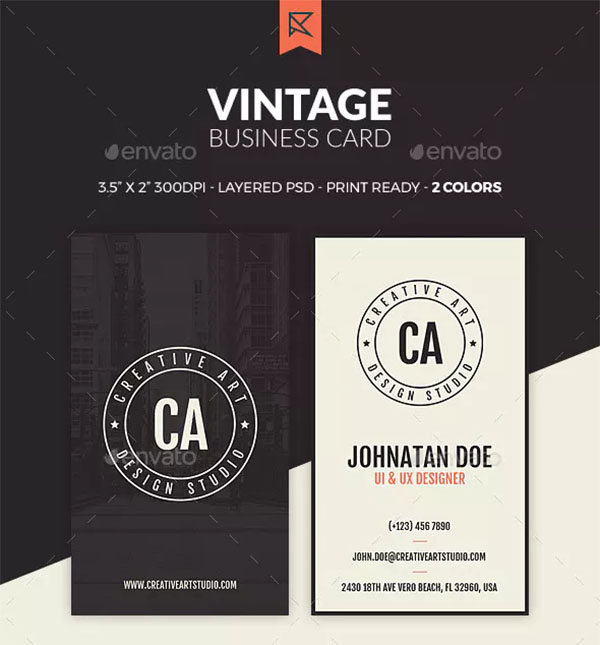 Colorful Vintage Business Card Template
