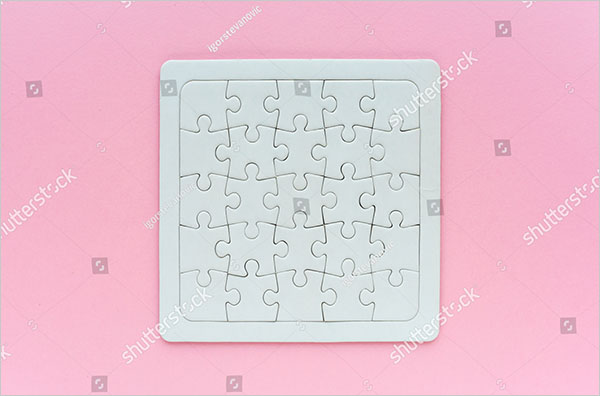 Complete Blank Jigsaw Puzzle Mockup