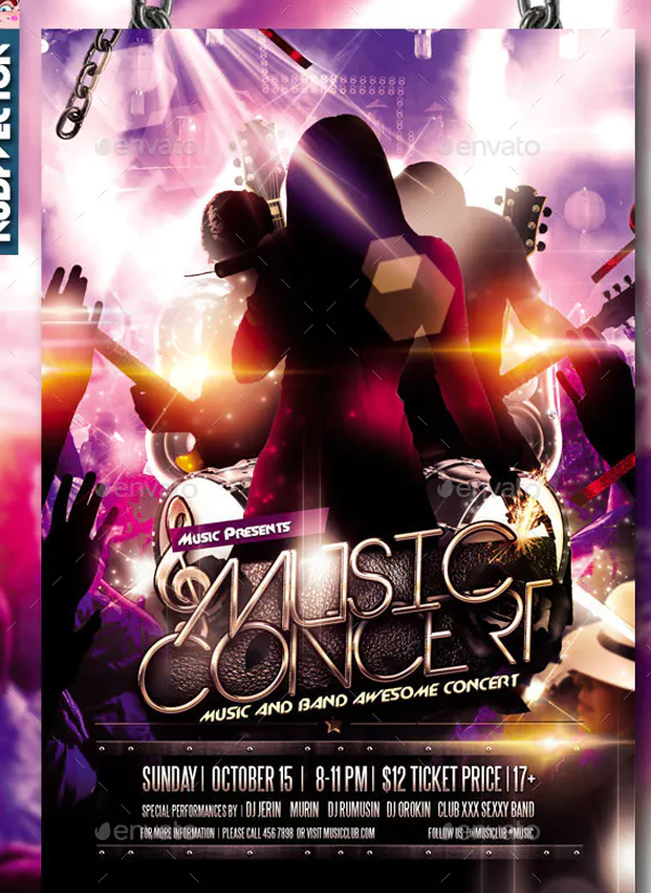 Concert Music Band Flyer Design