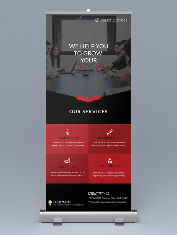 Corporate Roll Up Banner Bundle with Free Mockup