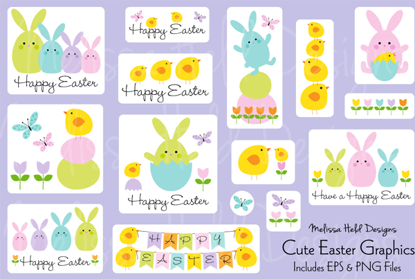 Cute Easter Bunny & Chick Banners