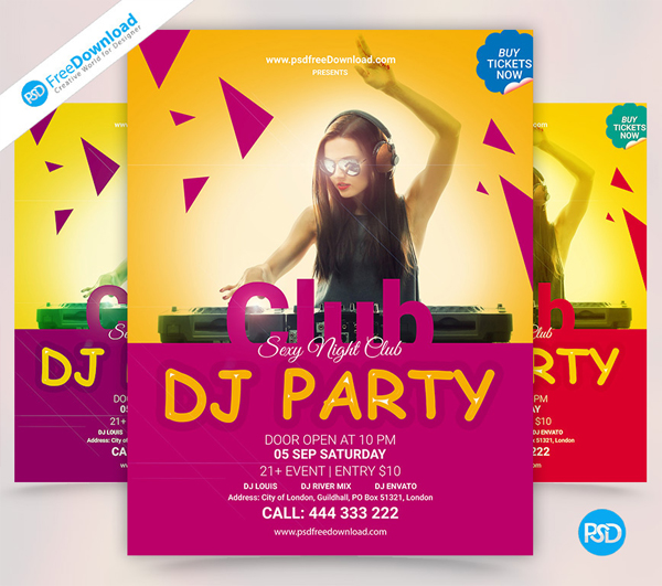DJ Party Flyer Template PSD Free Download