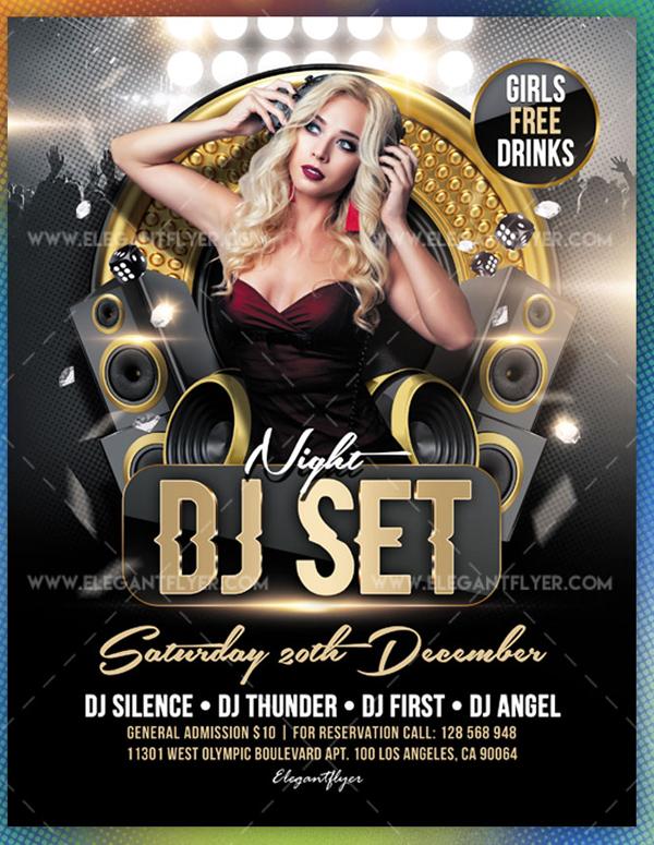 DJ Set Night Free Flyer Template