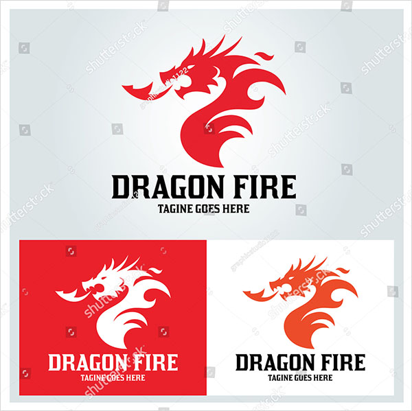 Dragon Fire Logo Design Vector Template