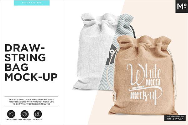 Drawstring and Burlap Jute Bag Mock-up