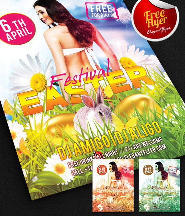 Easter Festival Free Flyer PSD Template