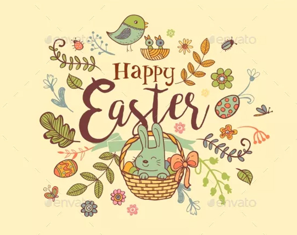 Easter Holiday Banner in Doodle Style