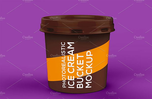 Editable Ice Cream Bucket Mockup