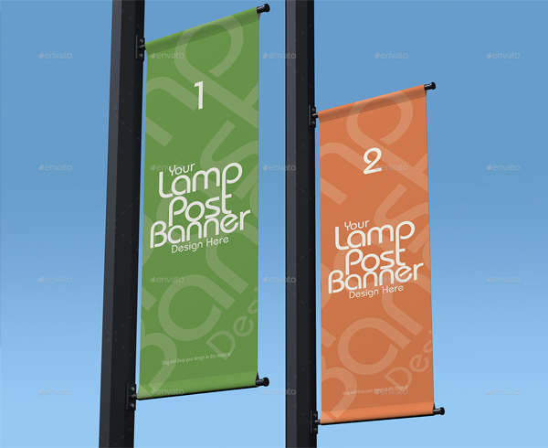 Editable Lamp Post Banner Mockup