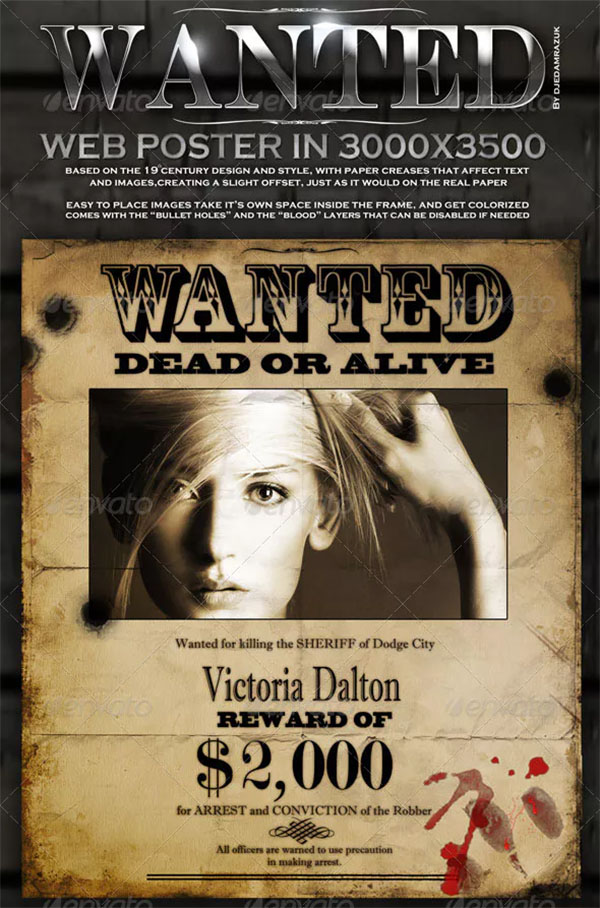 Editable Old Wanted Poster