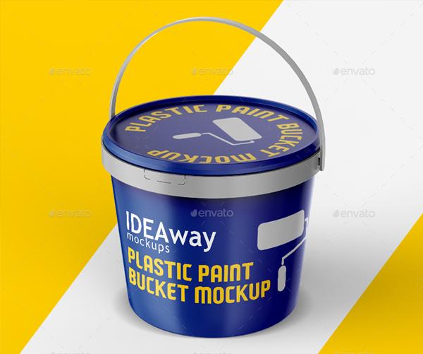 Editable Plastic Paint Bucket Mockup