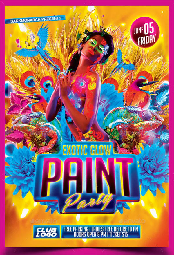 Exotic Glow Paint Party Flyer Template