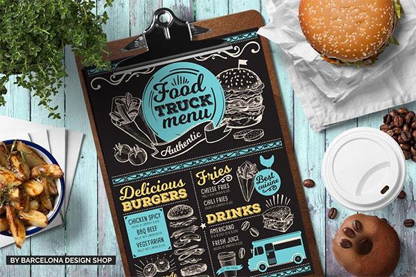 Free! Trifold + Food Truck Menu Template