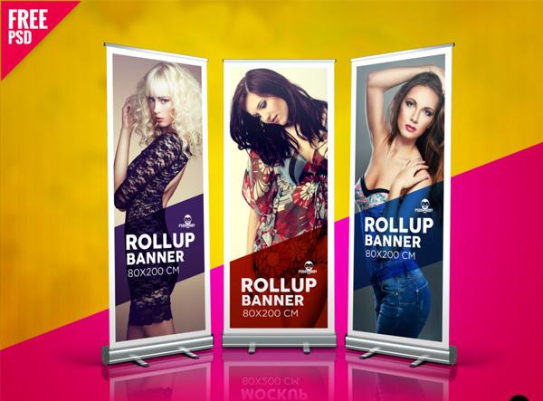 Fashion Roll Up Banner Free PSD Mockup