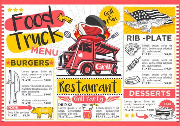 Fast Food Truck Menu Street Food Hipster Festival