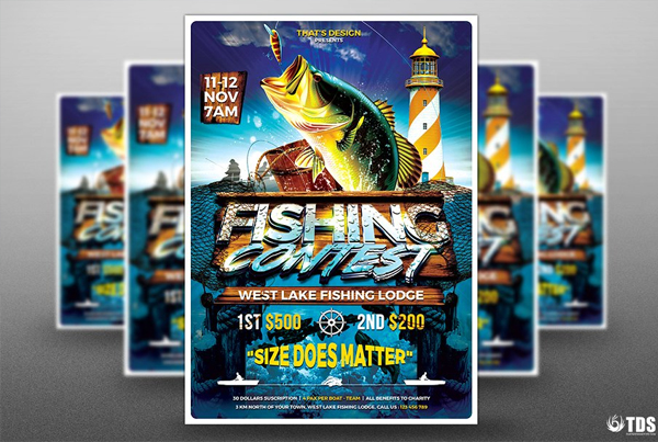 Fishing Contest Flyer Design Template