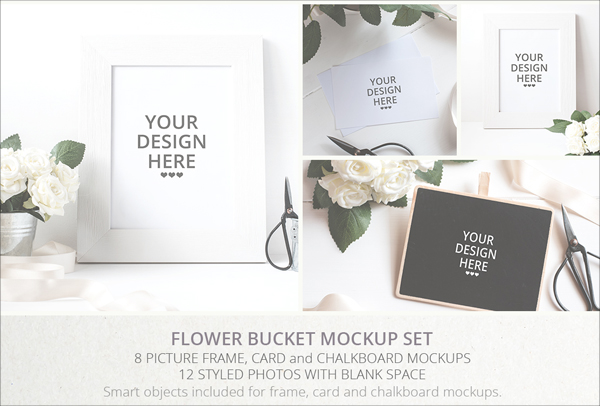 Flower Bucket Mockup Bundle