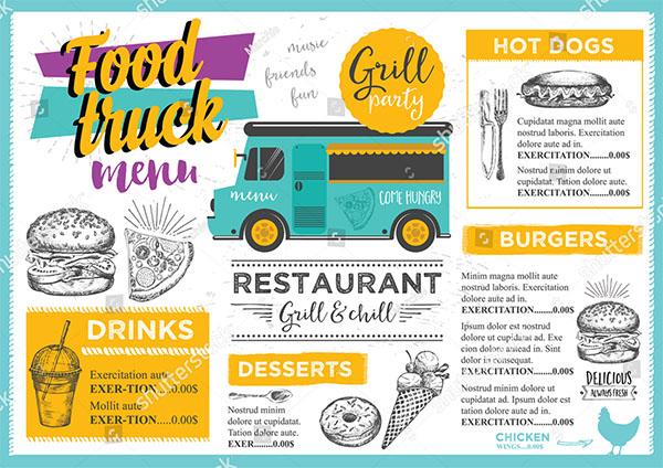 Food Truck Festival Vector Menu