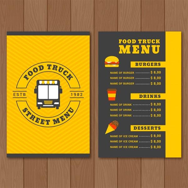 Food Truck Menu Design Free PSD Template