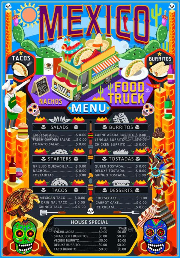 Food Truck Menu Street Food Mexican Festival